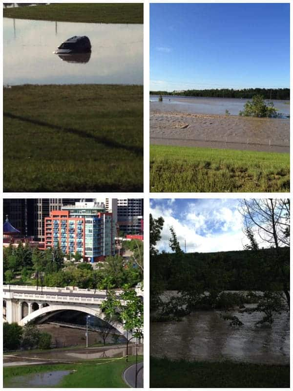 Collage image of various photos showing flooding in Calgary
