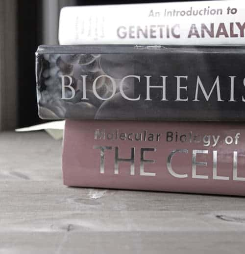 A stack of three books