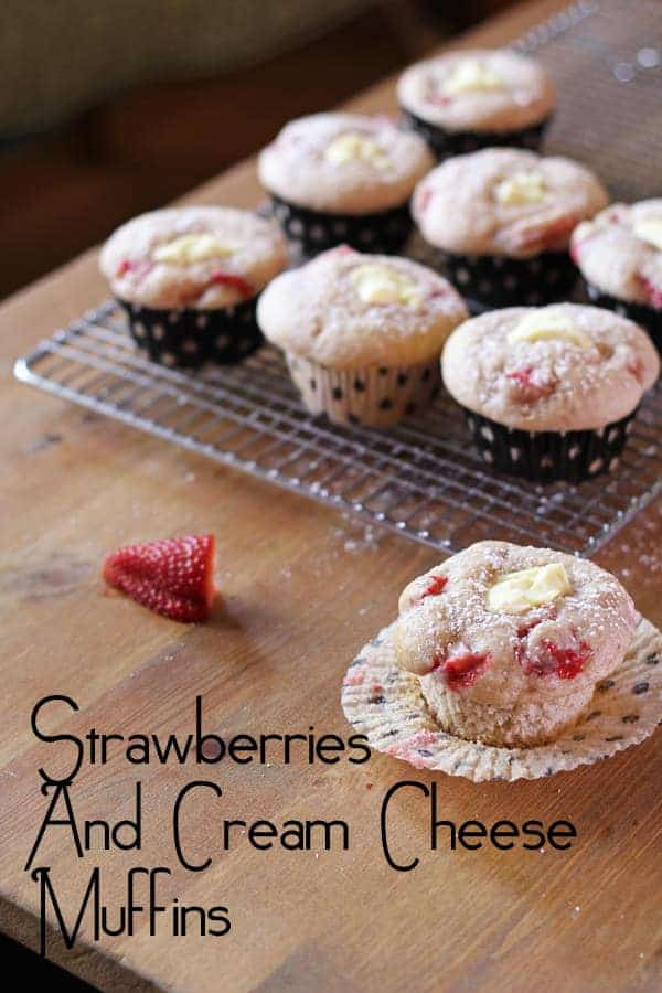 Strawberries & Cream Cheese Muffins | sweetpeasandsaffron.com