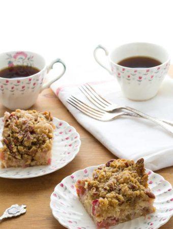Rhubarb Coffee Cake with Nutmeg-Pecan Streusel