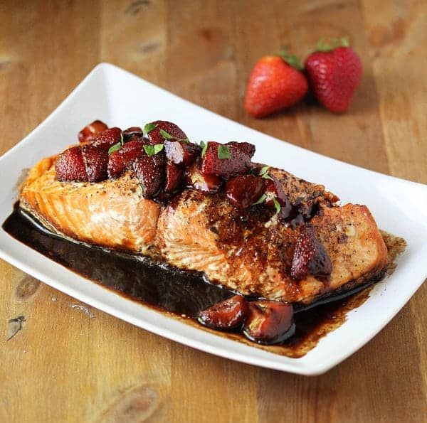 Grilled Salmon with a Strawberry-Balsamic Reduction | sweetpeasandsaffron.com