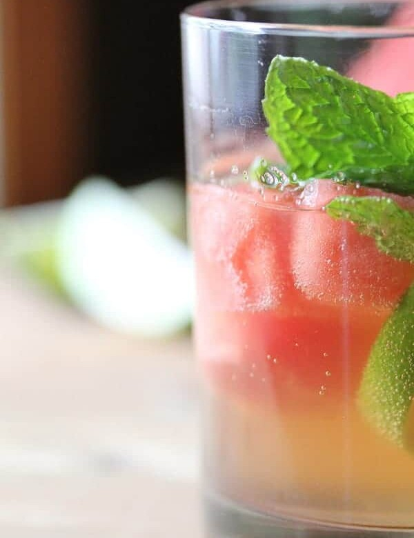 side view of virgin watermelon sangria with fresh mint