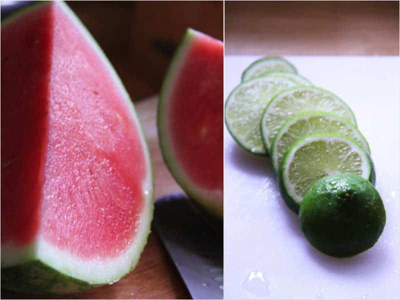 Collage image of a watermelon cut in half and fresh lime slices