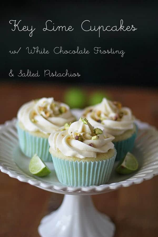 Key Lime Cupcakes with White Chocolate Frosting and Pistachios on a white cake stand