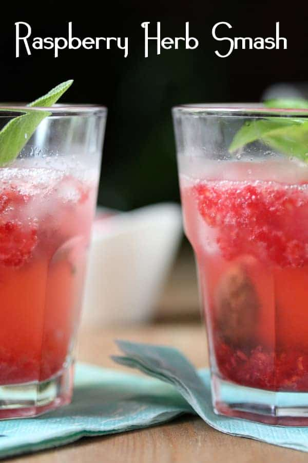 Raspberry-Herb Smash Cocktail or Mocktail | sweetpeasandsaffron.com