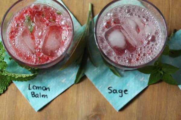 Two glasses of Raspberry Herb Smash Cocktail one using lemon balm and other using sage