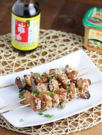 Miso-Sesame Grilled Chicken Kebabs