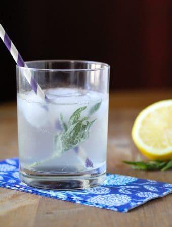 lemony tarragon spritzer in glass with cut lemon and straw