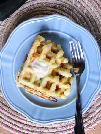 Zucchini, Cheddar & Cornmeal Waffles