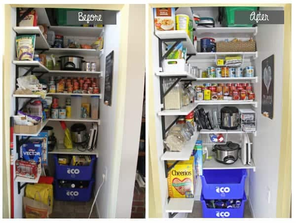 Collage image of pantry before being organized and after being organized