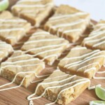 rows of key lime white chocolate blondies on wood board