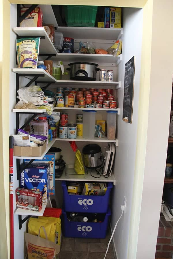 Image of food and other items added to pantry before being organized