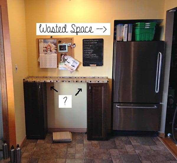 Photo of the refrigerator in kitchen before pantry makeover