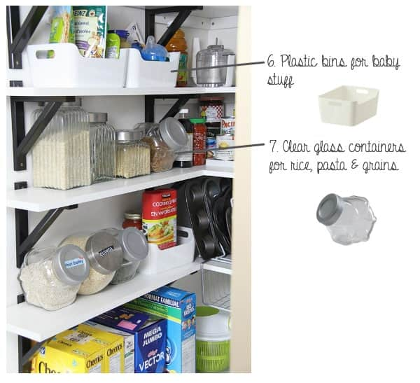 Image of Pantry after Make-Over with text to show the storage bins used