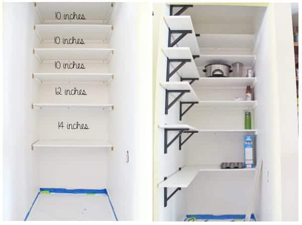Collage image showing white shelves being added to the pantry with measurements