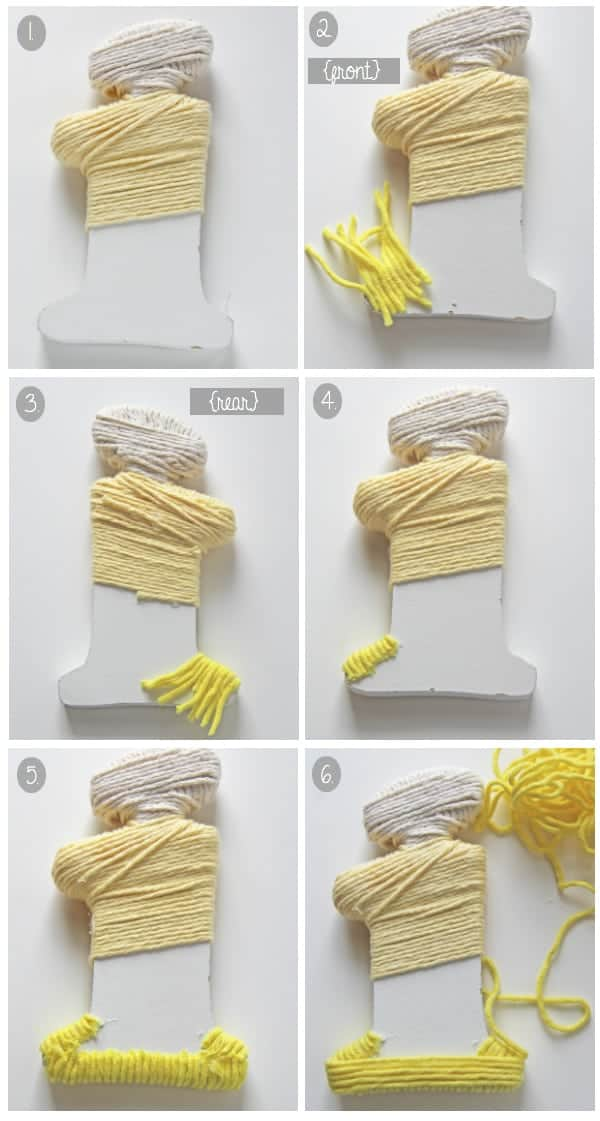Collage image of how to wrap the three colors of yarn around a letter