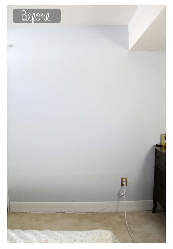 before photo of a plain white wall in a bedroom
