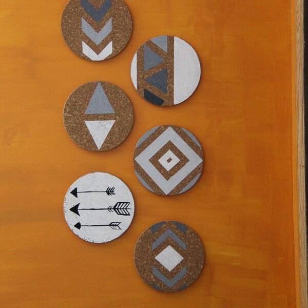 DIY southwestern cork boards on orange wall