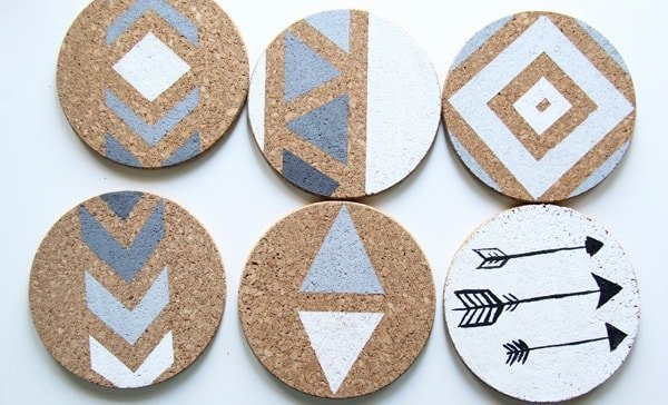 Six complete Cork Board Wall Art pieces after painting on a white background