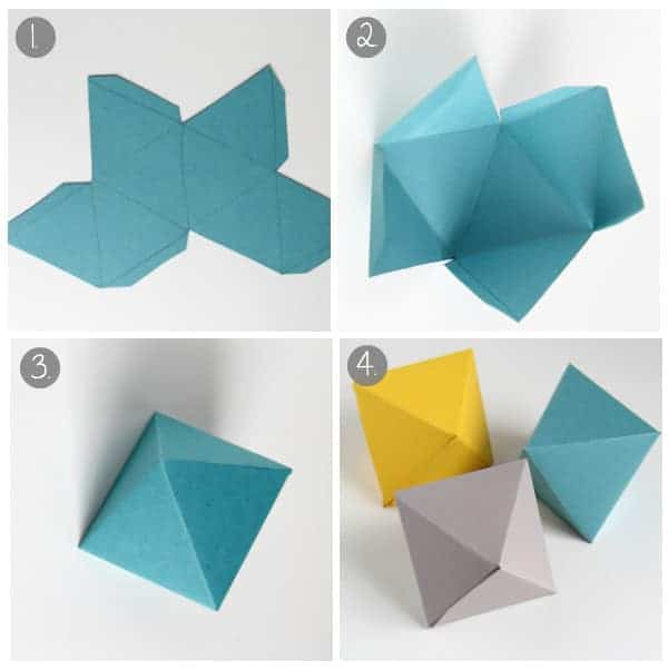 Collage image of a cube being made from heavy craft paper
