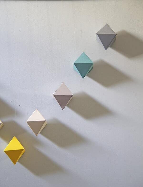 DIY Geometric paper wall hanging art
