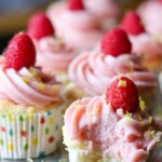 rows of lemon angel food cupcakes with raspberry buttercream