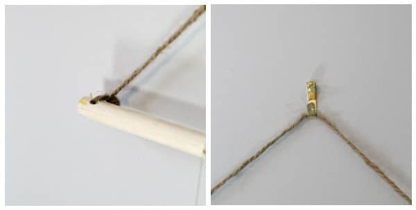 collage image of the dowel being hung on the wall