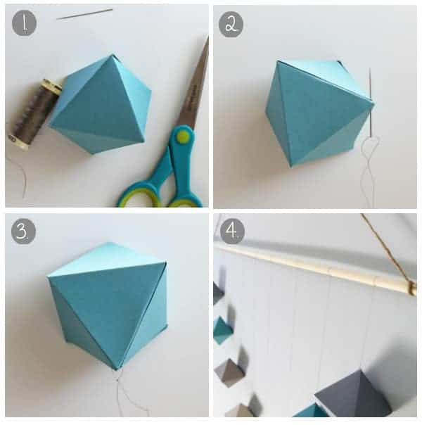Collage image of the steps to hang the finished cube onto the dowel