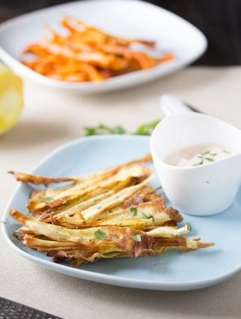 Healthy Baked Carrot Chips with Spicy Harissa Yogurt Dip