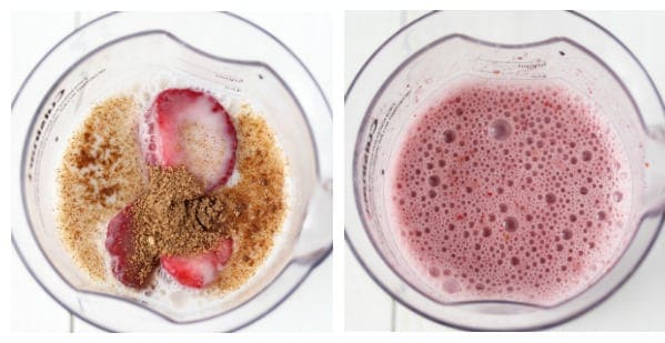 Collage image of ingredients of Strawberry Vanilla Chai Smoothie before being blended and after blending