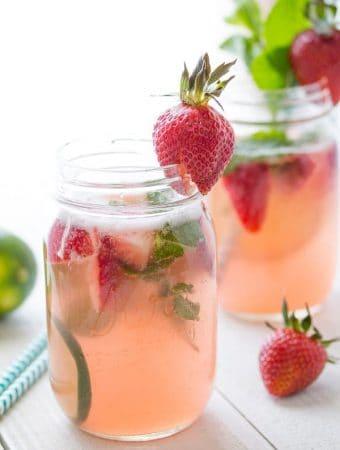 Strawberry-Rhubarb Rosé Sangria