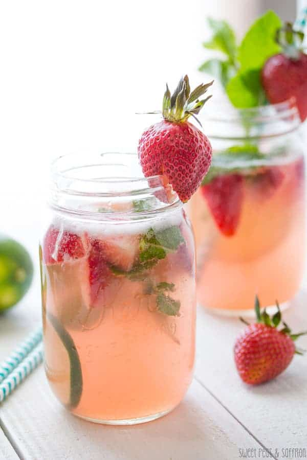 Strawberry Rhubarb Rosé Sangria- sweetpeasandsaffron.com
