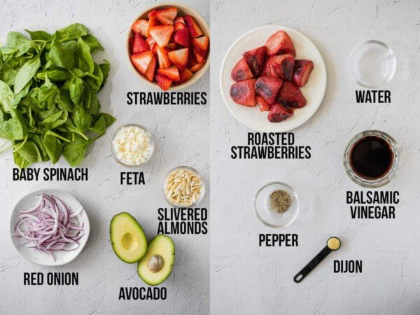 collage image showing labelled ingredients required to make roasted strawberry vinaigrette and strawberry spinach salad