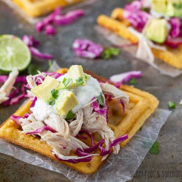 Chipotle Cornmeal Waffle Tostadas with Chicken & Lime Crema
