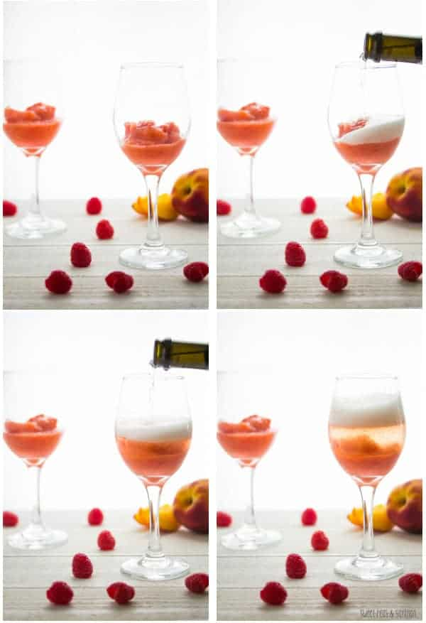 Collage image of Peach Raspberry Bellinis frozen with Prosecco being poured into glass