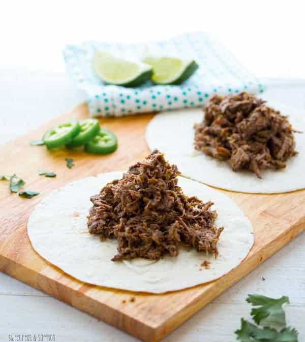 Slow Cooker Caribbean Beef Tacos with Mango Salsa | sweetpeasandsaffron.com