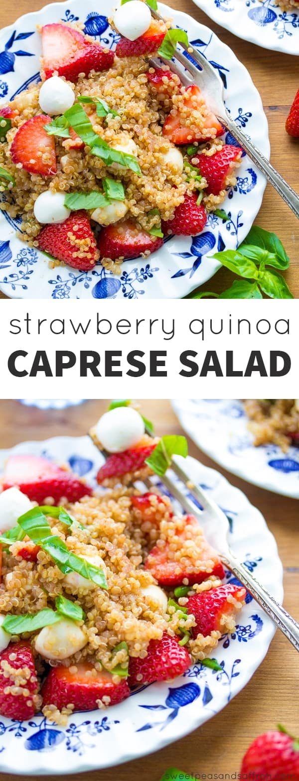 Strawberry Quinoa Caprese Salad @sweetpeasaffron