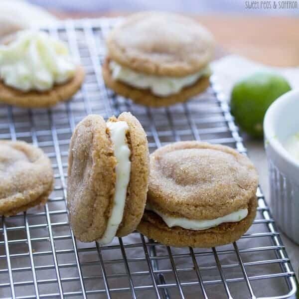 five key lime pie sandwich cookies on wire rack