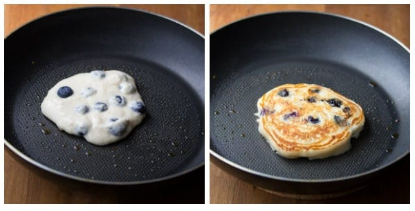 Collage image of Almond Blueberry Pancakes in frying pan before cooking and after cooking
