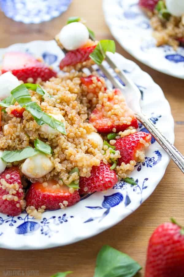 Strawberry Quinoa Caprese Salad with a Spicy Balsamic Vinaigrette | sweetpeasandsaffron.com