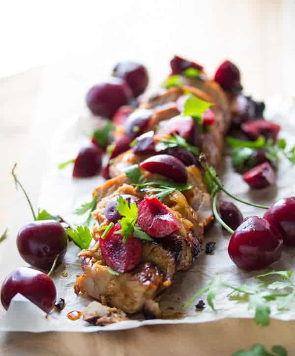 Grilled Pork Tenderloin slices with Fresh Cherry Salsa on top