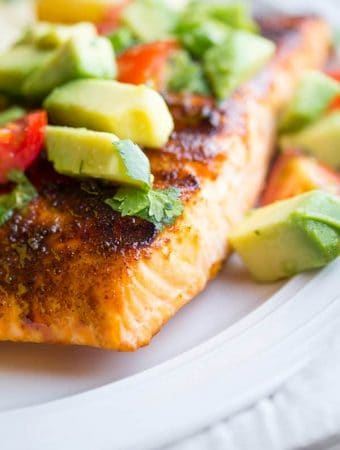 Chili-Rubbed Grilled Salmon with Avocado Salsa