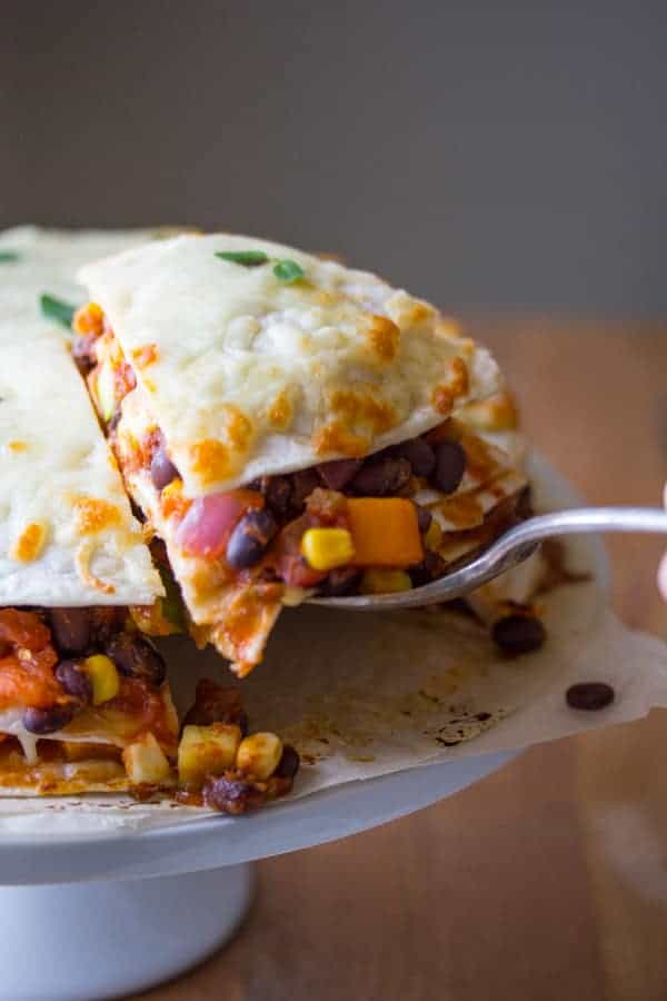 Garden Vegetable & Black Bean Tortilla Stacks