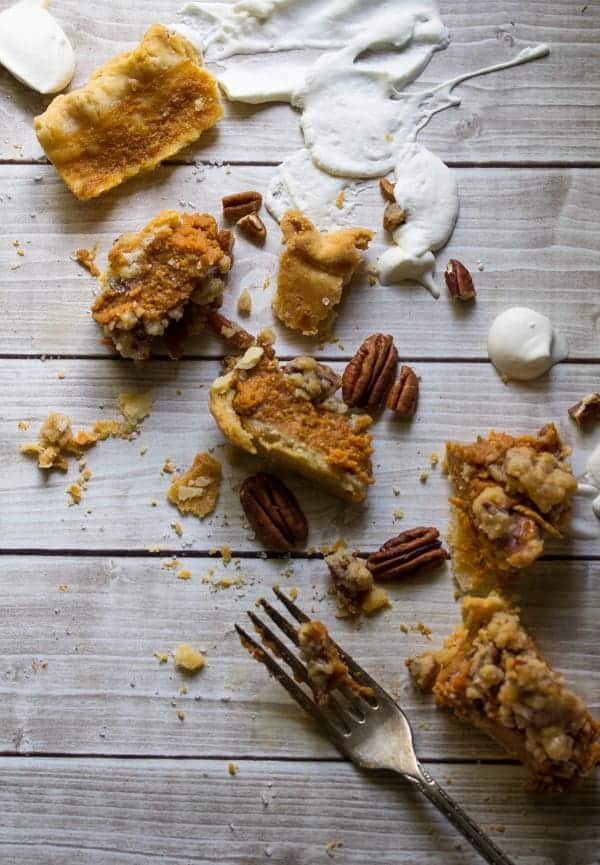 Bourbon Pumpkin Pie with Salted Brown Butter Pecan Streusel