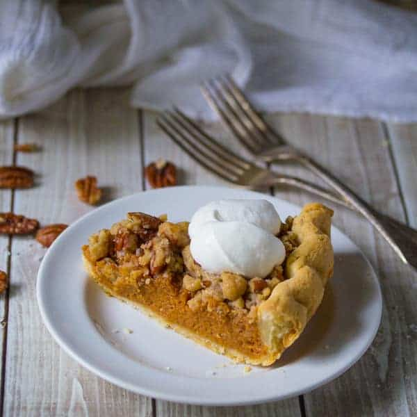 Bourbon Pumpkin Pie with Salted Brown Butter Pecan Streusel