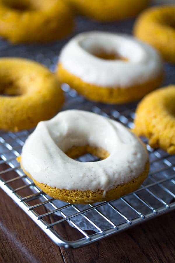 Pumpkin Donuts with Maple Cinnamon Cream Cheese Frosting