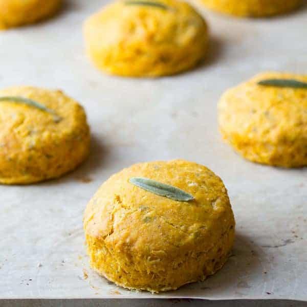 Pumpkin Biscuits arranged on baking sheet after baking