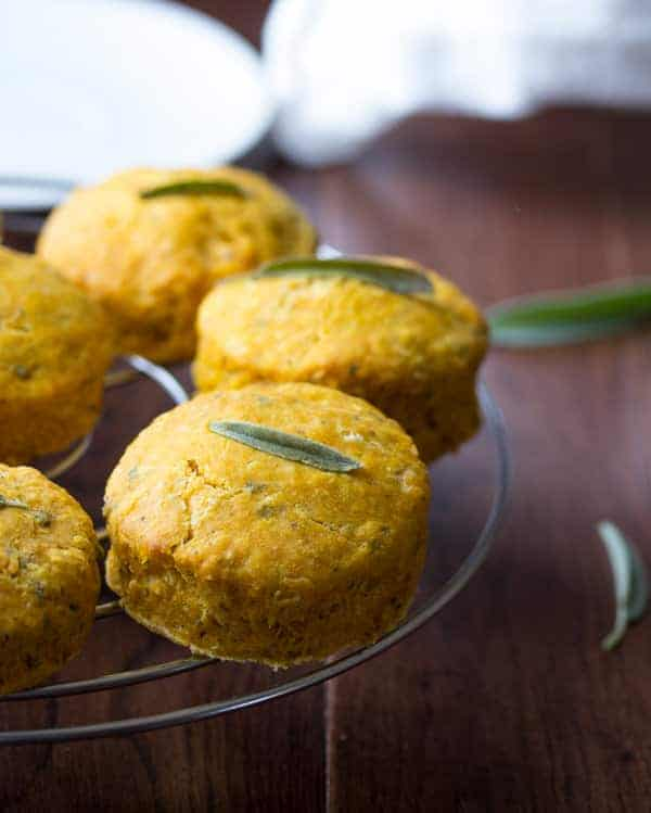 Healthy Pumpkin Biscuits with Sage- buttery, flaky biscuits lightened up with Greek yogurt!