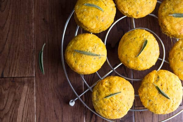 Overhead shot of Pumpkin Biscuits with Sage cooling on a wire rack