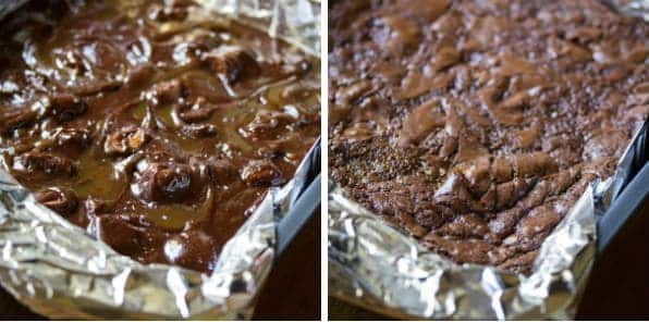 collage image of Brownies in tinfoil before baking and after baking
